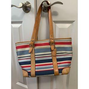 Colorful Striped Coach Shoulder Bag